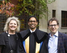 Ravi Ammigan with his supervisors Elspeth Jones and John Dennis
